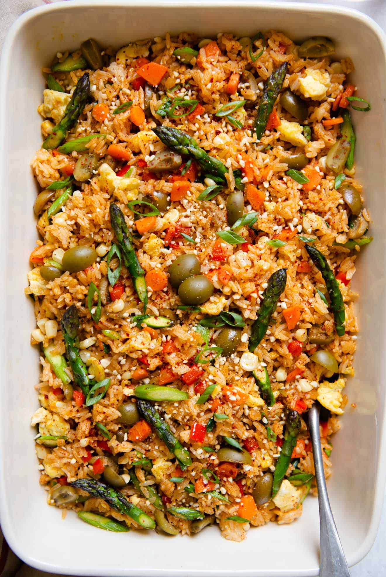 Red Curry Fried Rice with Olives