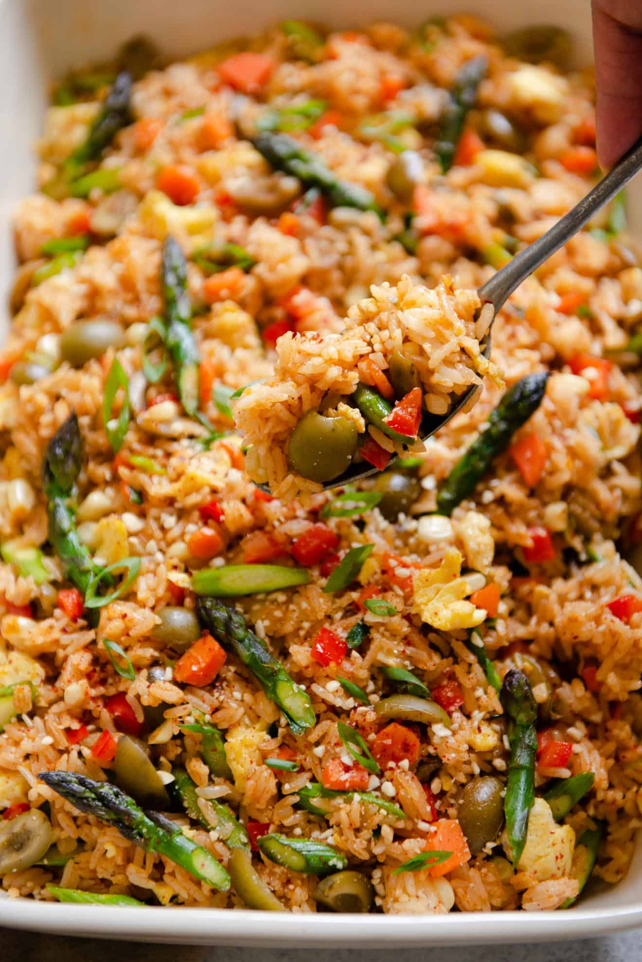 Vegetarian Red Curry Fried Rice with Olives