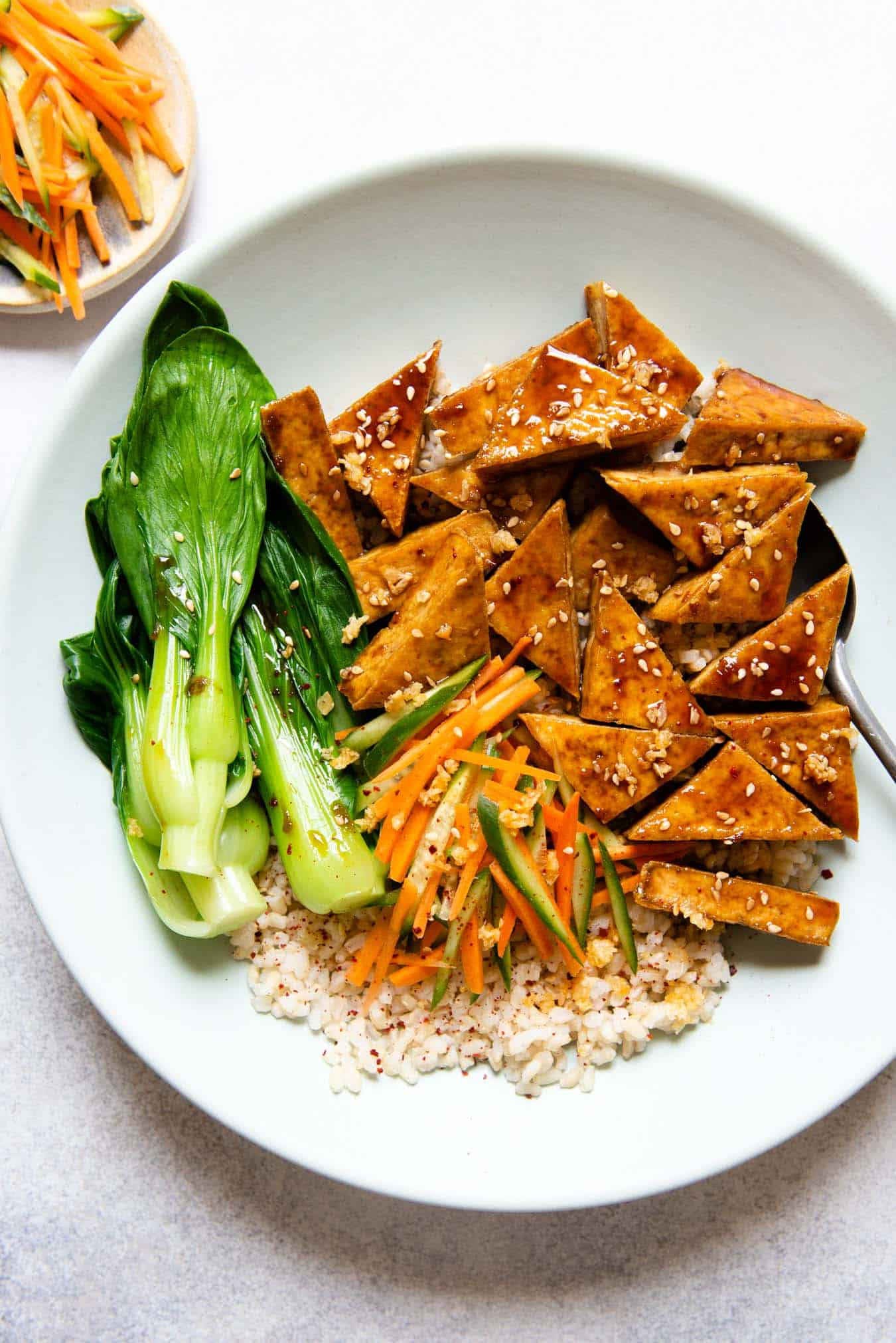 Crispy fried tofu with bok choy and rice
