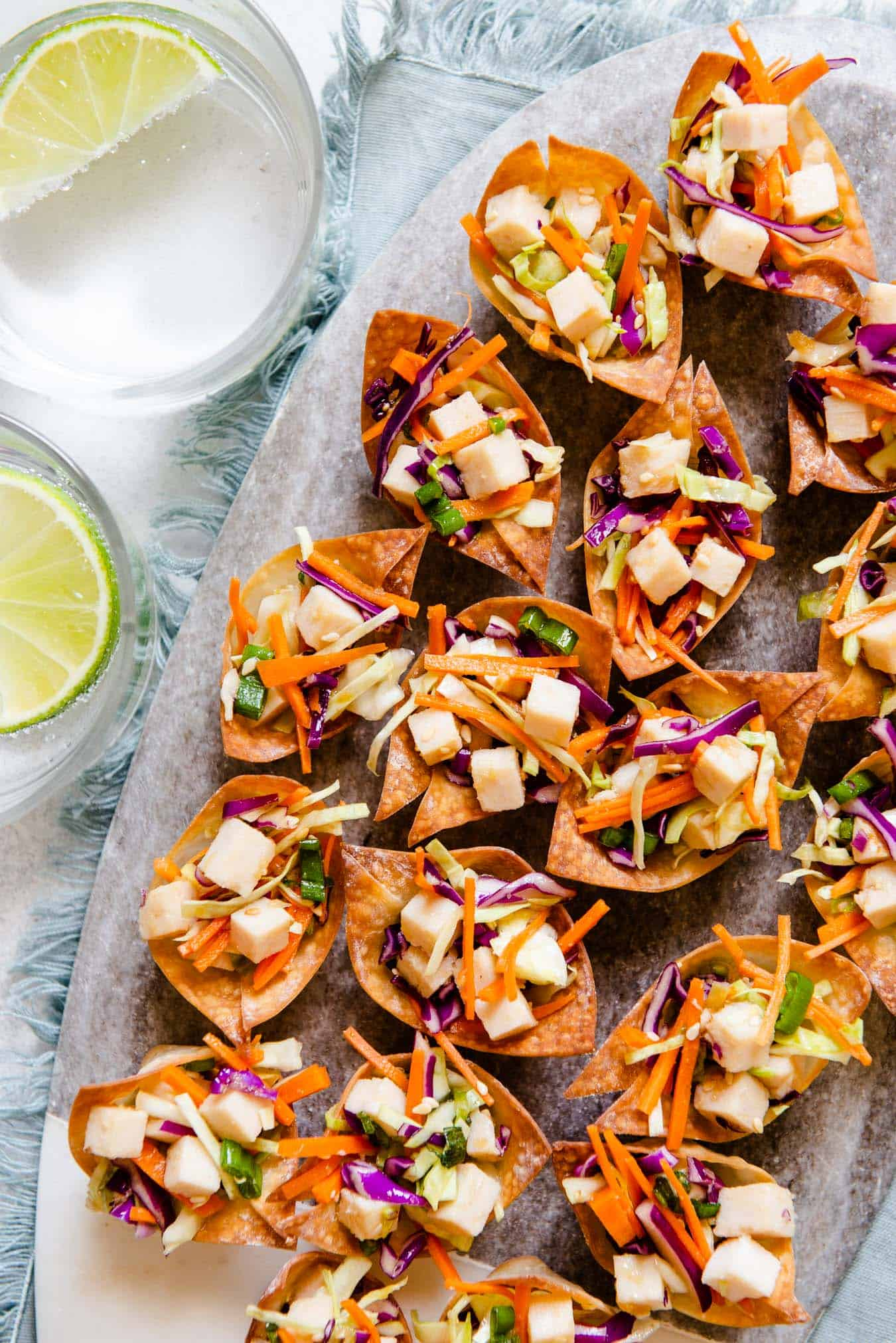 Asian Chicken Salad Wonton Cups