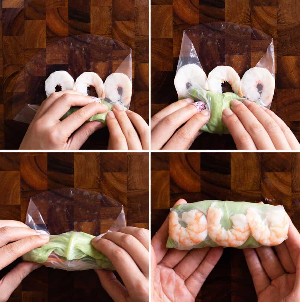 Rolling Shrimp Spring Rolls