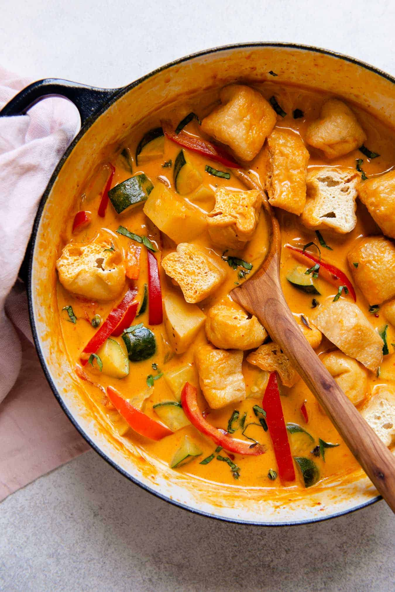 Thai Vegetable Red Curry with Tofu Puffs