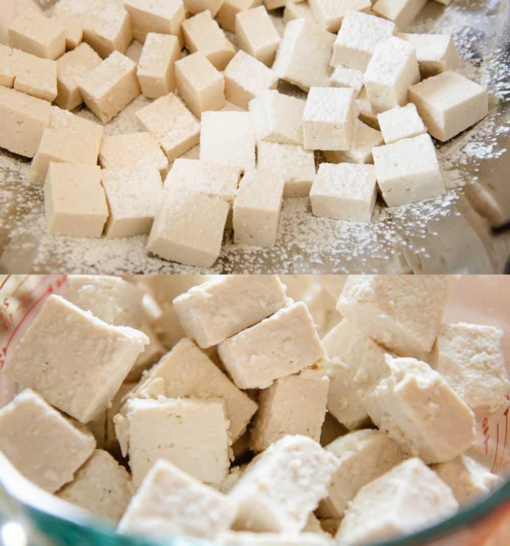 Tofu mixed with cornstarch