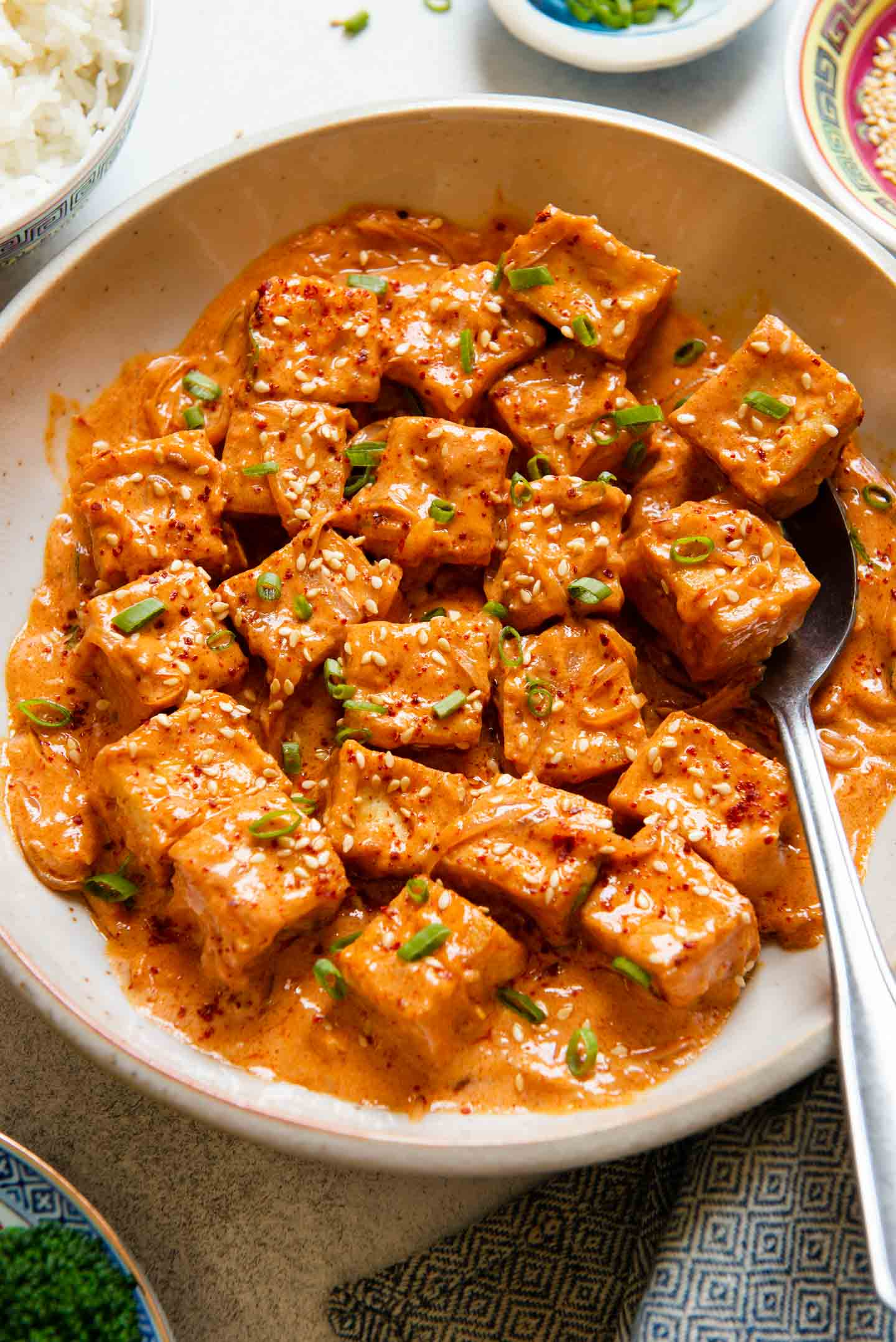 Spicy Tofu with Creamy Coconut Sauce