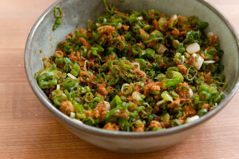 Bowl with scallion and pork floss filling