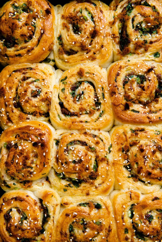 Closeup of scallion and pork floss rolls
