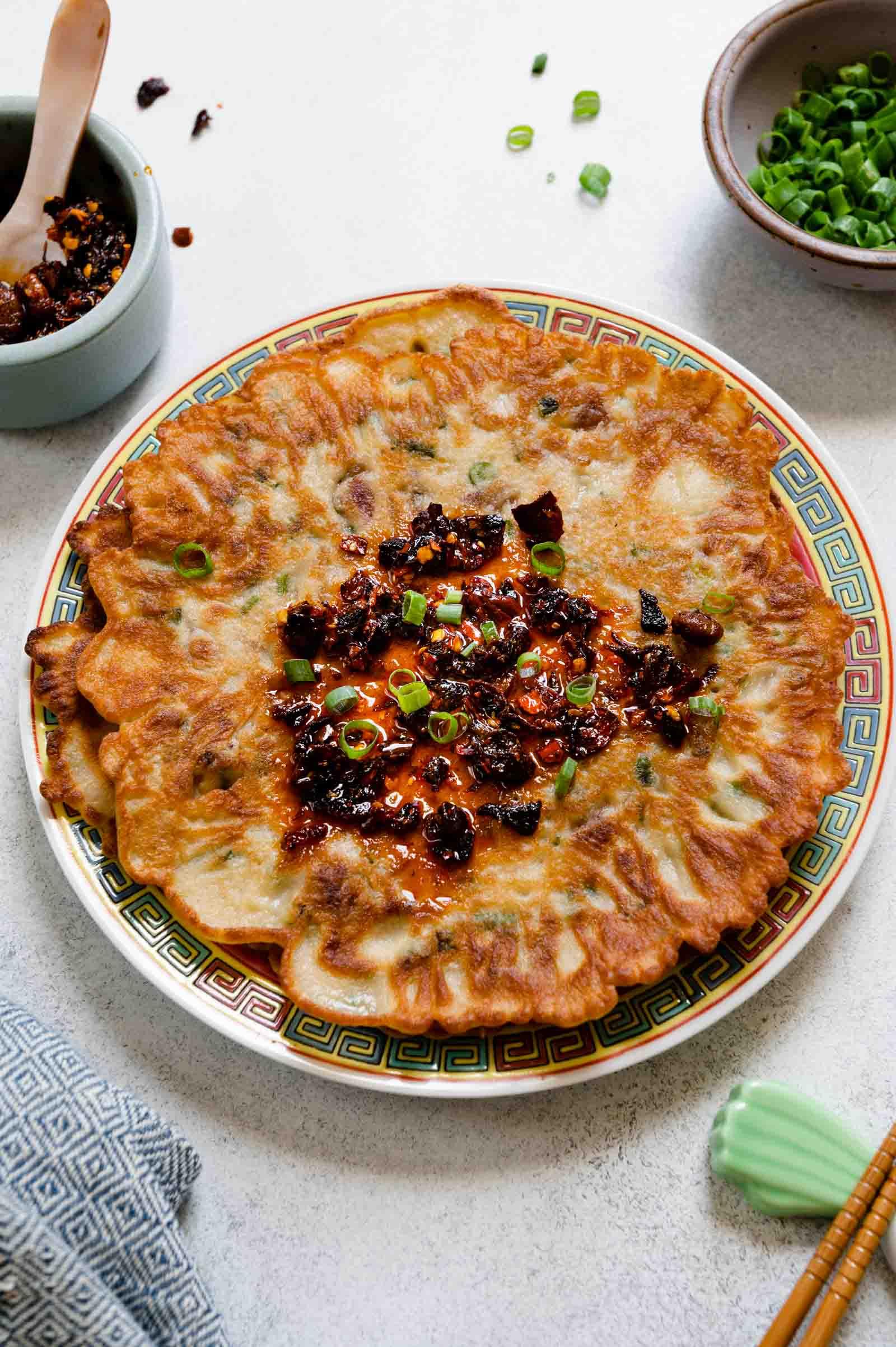 Mama Lin's Savory Chinese Pancakes with Lao Gan Ma chili crisp on top.