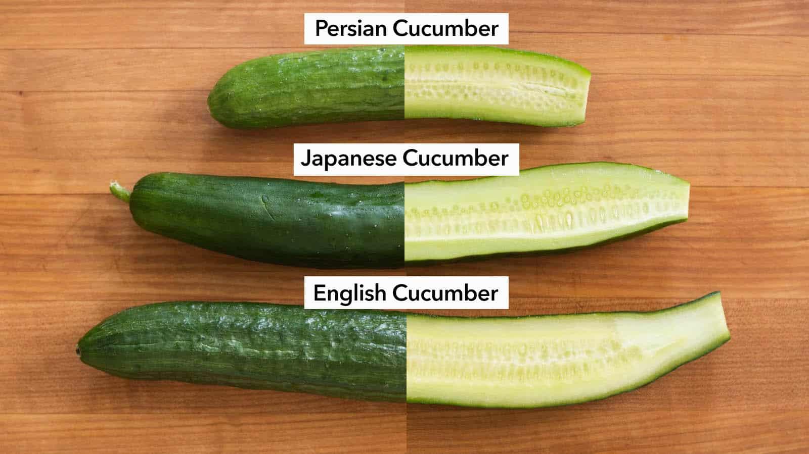 Persian cucumber, Japanese cucumber, English cucumber
