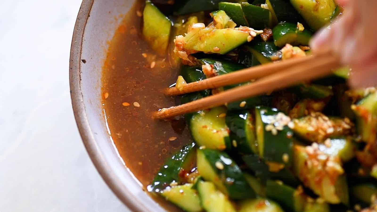 Excess liquid from garlic cucumber salad