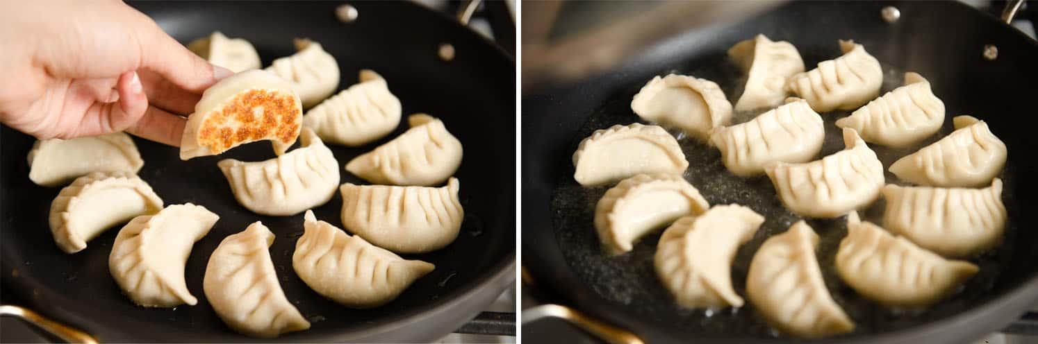 Pan frying chicken dumplings