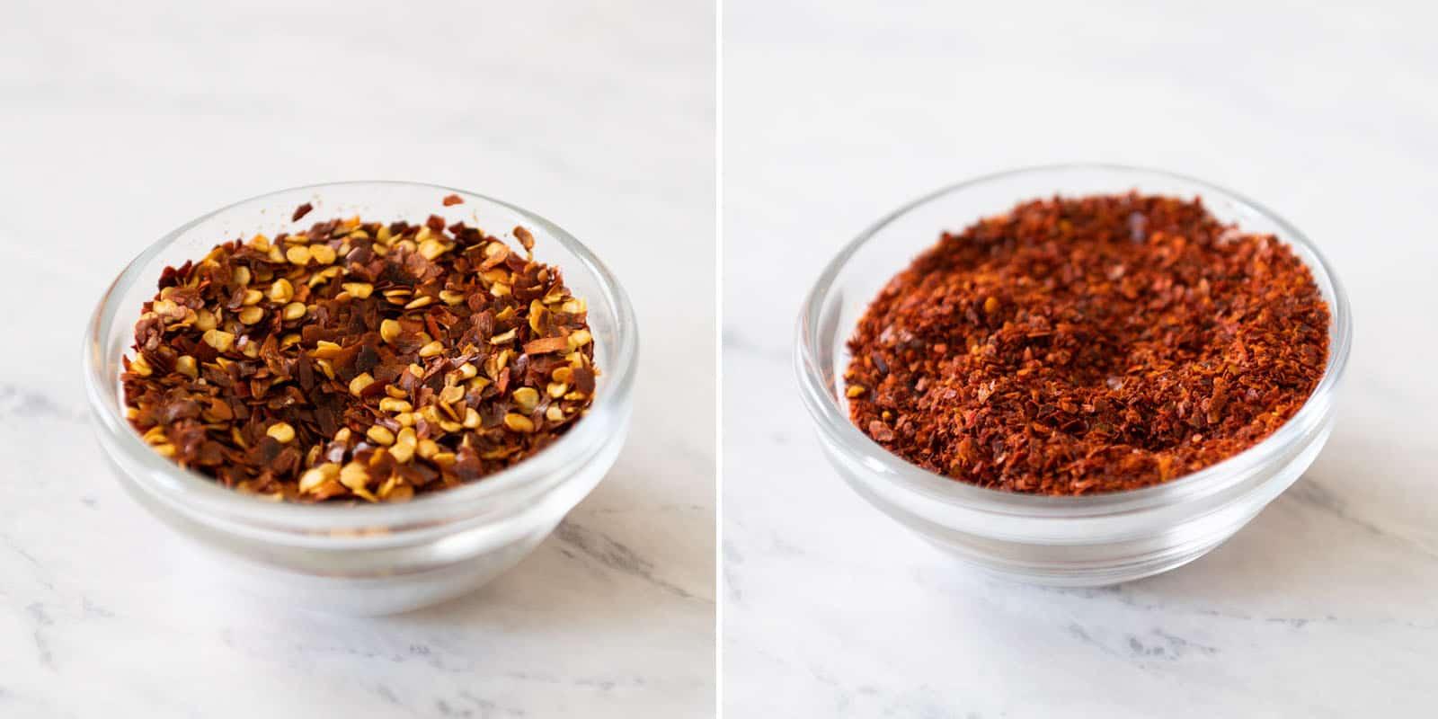 Red pepper flakes and gochugaru (Korean red pepper flakes)