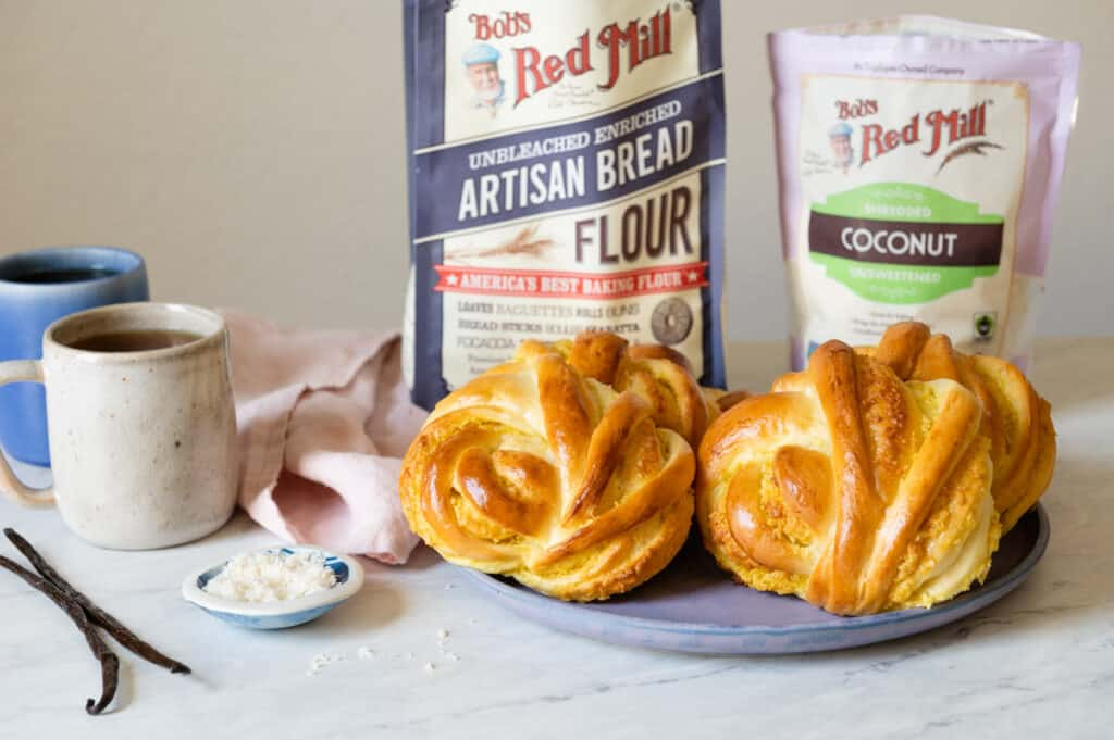 Twisted Coconut Buns with Bob's Red Mill