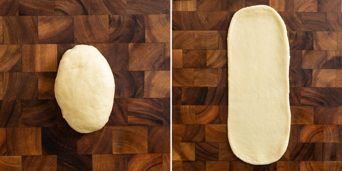 Rolling out dough for buns, steps 1 and 2
