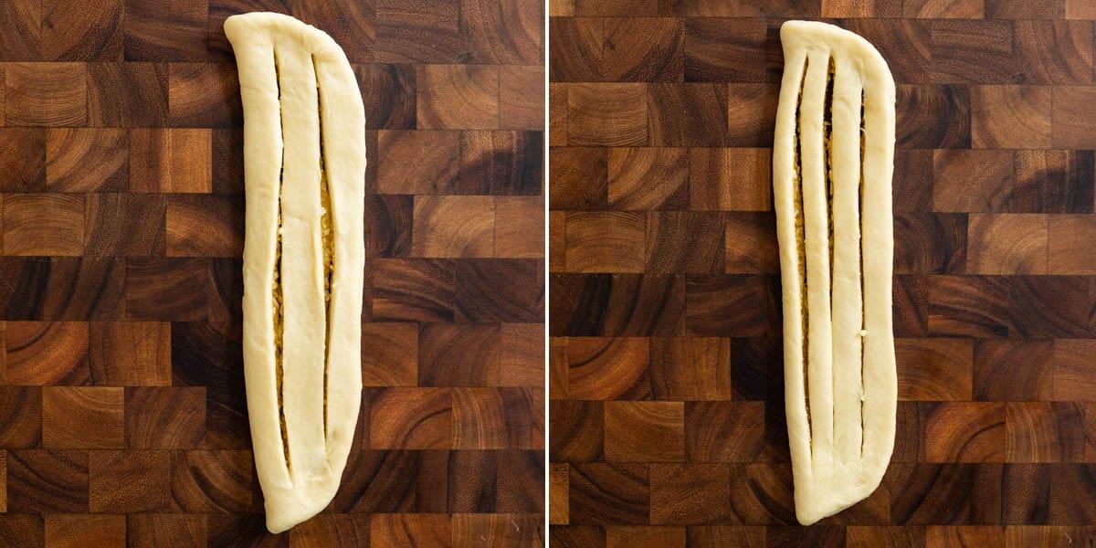 Cutting strips inside dough