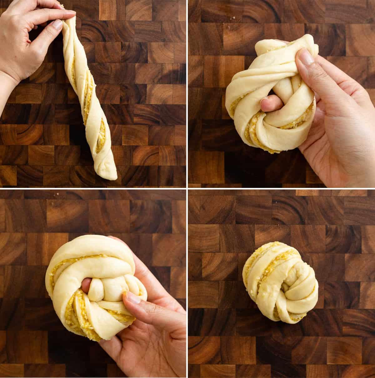 Finishing tying dough into knot