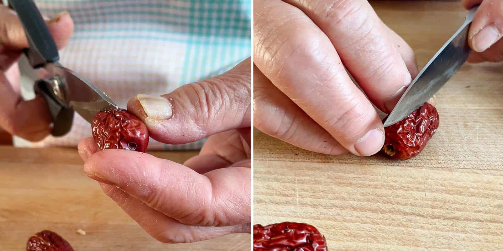 Cutting open red dates with scissors and knife