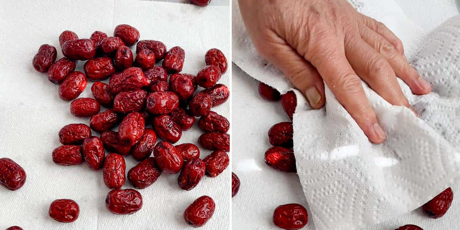 Drying rinsed red dates