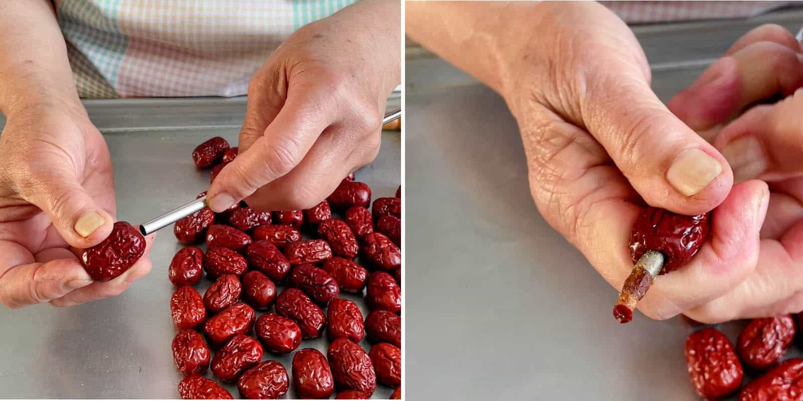 Pitting Red Dates with Stainless Steel Straw