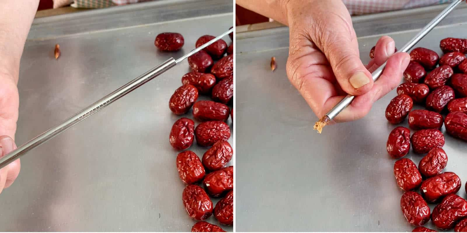 Using BBQ skewer to dislodge pits