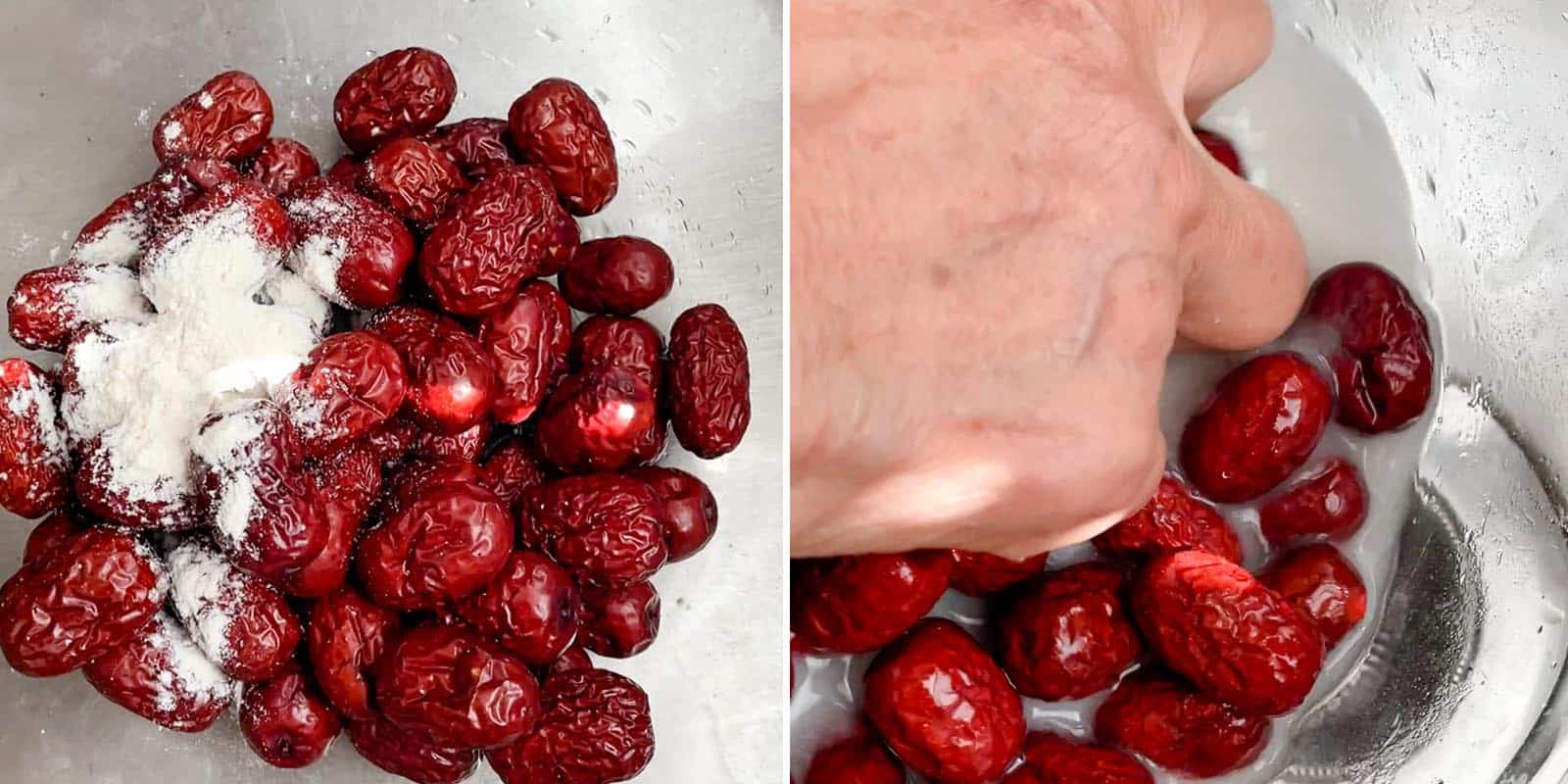 Rinsing Red Dates with salt and flour