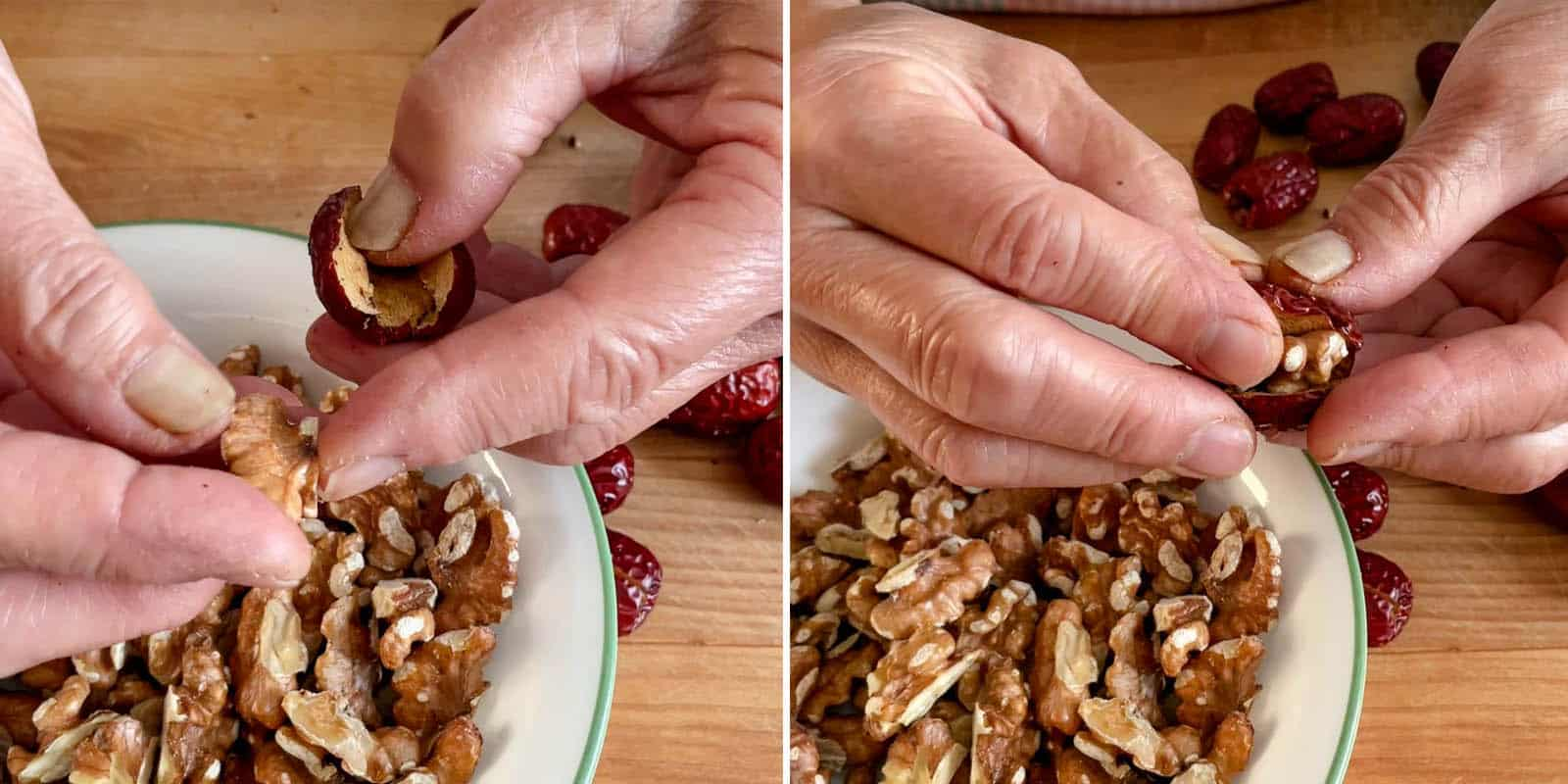Stuffing dates with walnuts